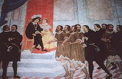 Alonso Fernández de Lugo presenting the captured native kings of Tenerife to Ferdinand and Isabella
