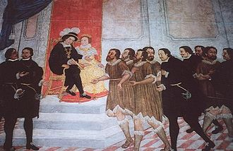 Canary Islands - Alonso Fernández de Lugo presenting the captured native Guanche kings of Tenerife to the Catholic Monarchs