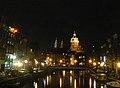 Amsterdam - Oudezijds Voorburgwal - to Sint-Niklaaskerk by night.JPG