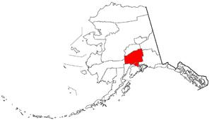 Anchorage metropolitan area - Location of the Anchorage Metropolitan Statistical Area within the State of Alaska.