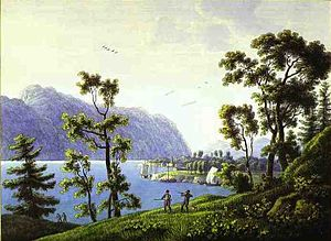 Andrey Yefimovich Martynov - View of the Nikolsky Monastery on Lake Baikal by Andrey Martynov, c. 1806–1810