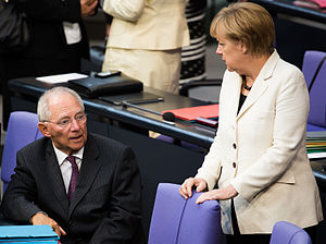 Wolfgang Schäuble - Wolfgang Schäuble and Angela Merkel in the German Bundestag, 2014