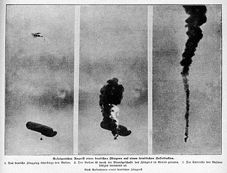 Balloon buster - Observation balloon being shot down by a German biplane