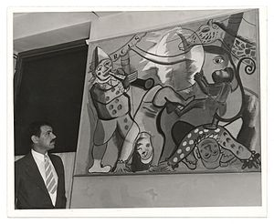 Neponsit Beach Hospital - Artist Louis Schanker with one of his murals within Neponsit Hospital in 1939