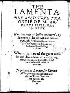 <i>Arden of Faversham</i> 1592 English play of undetermined authorship