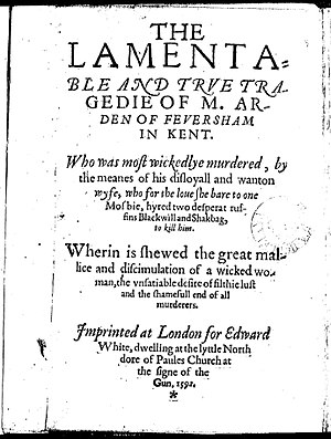 Arden of Faversham - Title page of the first quarto (1592)