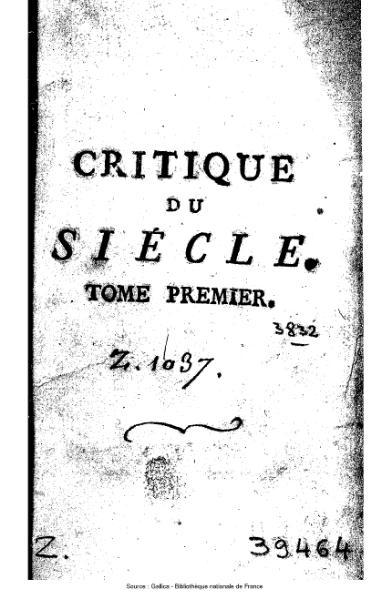 File:Argens - Critique du siècle ou Lettres sur divers sujets, tome 1.djvu