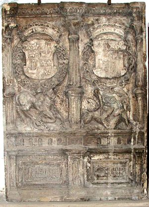 Kinneil House - Armorial stone of the Duke and Margaret Hamilton, Kinneil House, c.1550, in Renaissance style