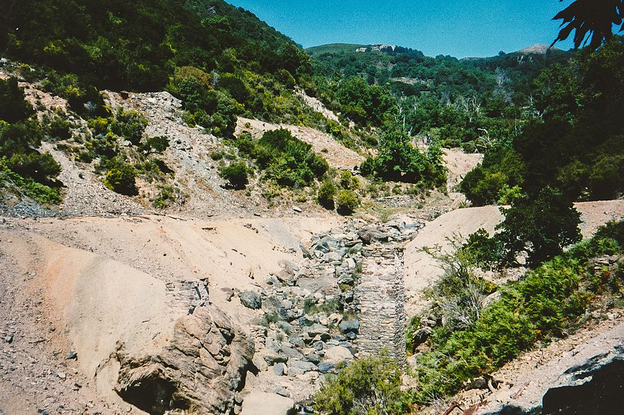 Arsenic mine tailings and ruins north of Matra, Haute-Corse, Corsica. Summer 1995.