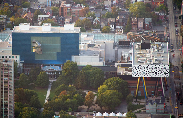 AGO and OCAD By Tony Hisgett from Birmingham, UK (Art Museum from the CN Tower  Uploaded by tm) [CC BY 2.0 (http://creativecommons.org/licenses/by/2.0)], via Wikimedia Commons