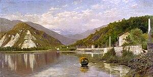 Francesco Gnecchi - Riviera (Lago Maggiore) o Il Sempione dal Lago Maggiore, 1884 (Fondazione Cariplo)