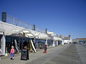 Redeveloped shops along the Asbury Park Boardwalk