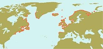 Ascophyllum - Image: Ascophyllum nodosum natural range