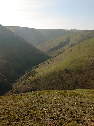 Quinny Brook - The view up Ashes Hollow towards Pole Bank