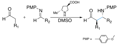Asymmetric anti-Mannich reaction catalyzed by pyrrolidine-derivative.png