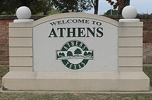 Athens, Texas - Athens welcome sign
