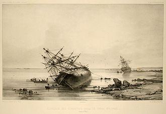 Careening - Nineteenth-century vessels being careened.