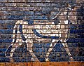 Aurochs from the 2nd building phase of the Ishtar Gate of Babylon, colored glaze on flat bricks. 6th century BCE. Pergamon Museum.jpg