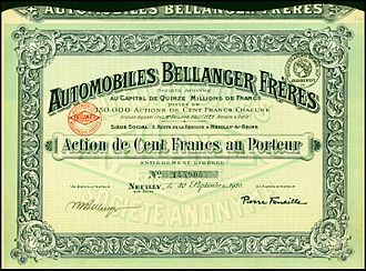 Bellanger (automobile) - Share of the Automobiles Bellanger Frères SA, issued 30. September 1920