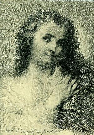 Frédérique Émilie Auguste O'Connell - Self-Portrait, Etching drawn by Frédérique O'Connell, published by L'Artiste in 1879
