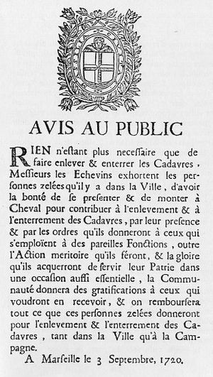 Great Plague of Marseille - Public notice on the disposal of corpses during the Great Plague