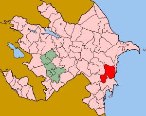Salyan District, Azerbaijan - Map of Azerbaijan showing Salyan rayon