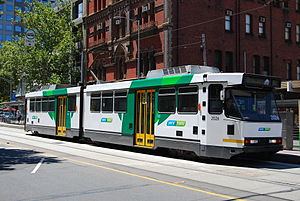 Melbourne tram route 86 - B class tram on Bourke Street
