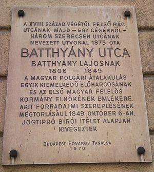 Lajos Batthyány - Plaque in Batthyány Street, Budapest, Hungary
