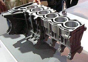 Die casting - An engine block with aluminium and magnesium die castings