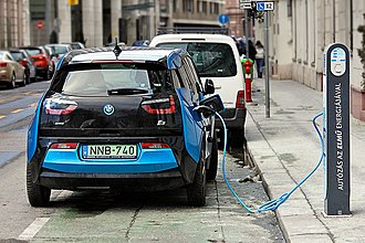 Electric car -  BMW i3 charging on the street