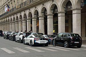 2016 Paris ePrix - Official fleet of BMW i3s and BMW i8s on duty at the 2016 Paris ePrix.