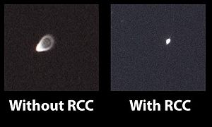 Coma (optics) - This is a comparison of the coma in an uncorrected f/3.9 Newtonian telescope versus the effects of coma with the Baader Rowe Coma Corrector.