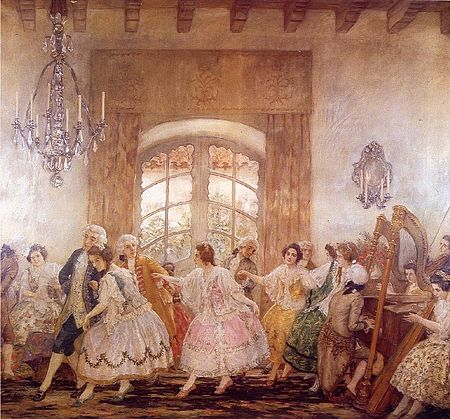 """Baile del Santiago antiguo"" by Pedro Subercaseaux. Chile's colonial high society were made up by landowners and government officials. Baile del Santiago antiguo.jpg"