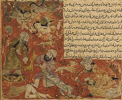 Balami - Tarikhnama - The Battle of Badr - The death of Abu Jahl, and the casting of the Meccan dead into dry wells (cropped).jpg