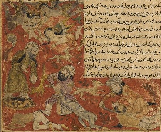 Balami - Tarikhnama - The Battle of Badr - The death of Abu Jahl, and the casting of the Meccan dead into dry wells (cropped)