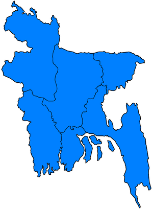 2007 South Asian floods - Divisions of Bangladesh affected by flooding between 3 July and 15 August 2007 (marked in blue).