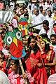 Bangladeshi girls wearing draping sari with flower crown at Pohela Boishakh celebration 2016 (02).jpg