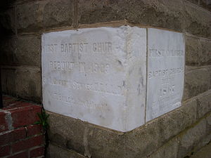 First Baptist Church (Montgomery, Alabama) - Cornerstone of First Baptist church, Ripley Street/Columbus Street.
