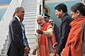 Barack Obama & First Lady Michelle Obama being warmly welcomed by the Prime Minister, Shri Narendra Modi, in New Delhi. The Minister of State (Independent Charge) for Power, Coal and New and Renewable Energy (1).jpg