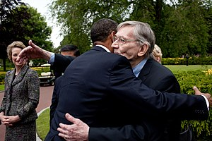 Family of Barack Obama - Barack Obama embraces his great-uncle Charles Payne, June 6, 2009.