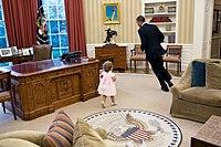 the oval office desk. President Barack Obama Runs Around The Resolute Desk In Oval Office. Office E