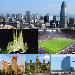 From upper left: Barcelona skyline, Castell dels Tres Dragons, Port of Barcelona, Sagrada Família, Camp Nou, Mar Bella beach