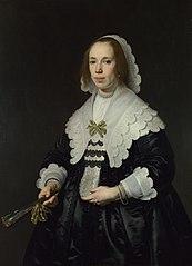 Portrait of a Lady in Black Satin with a Fan