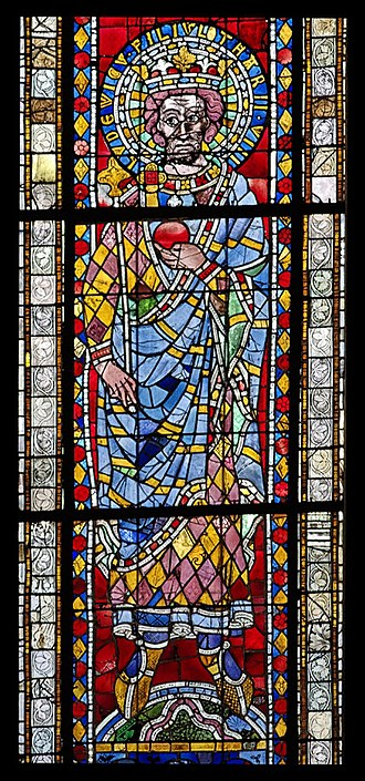 Louis II of Italy - 13th-century stained glass depiction of Louis II, Strasbourg Cathedral