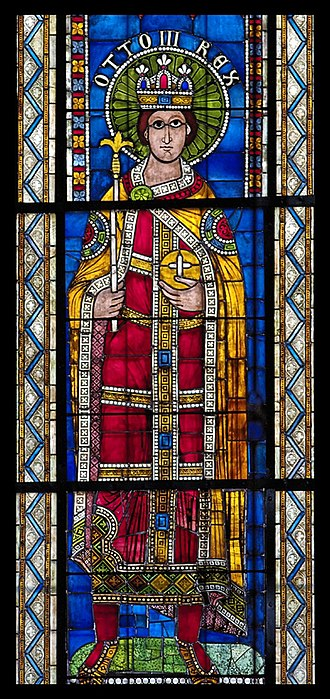 Otto III, Holy Roman Emperor - 12C stained glass depiction of Otto III, Strasbourg Cathedral
