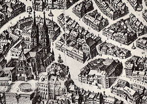 Museums in Basel - Cathedral Square with Haus zur Mücke (center of drawing, to the left of number 18) and the former monastery on Augustinergasse, the site of the first actual museum building from 1849 (at the bottom, by number 12)