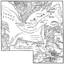Nuntempa mapo de Batalo de Hampton Rodo; de Century Magazine, marto 1885