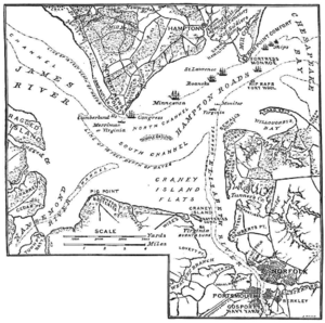 Map of events of the Battle of Hampton Roads.