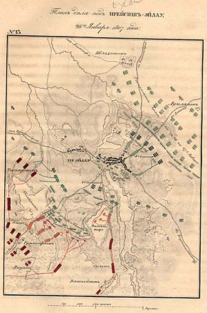 Battle of Eylau - Battle of Eylau in the early stages. French shown in red, Russians in green, Prussians in blue.