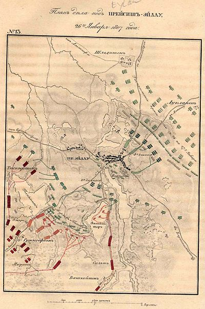 Battle of Eylau in the early stages. French shown in red, Russians in green, Prussians in blue. Battle of Preussisch Eylau Map1.jpg
